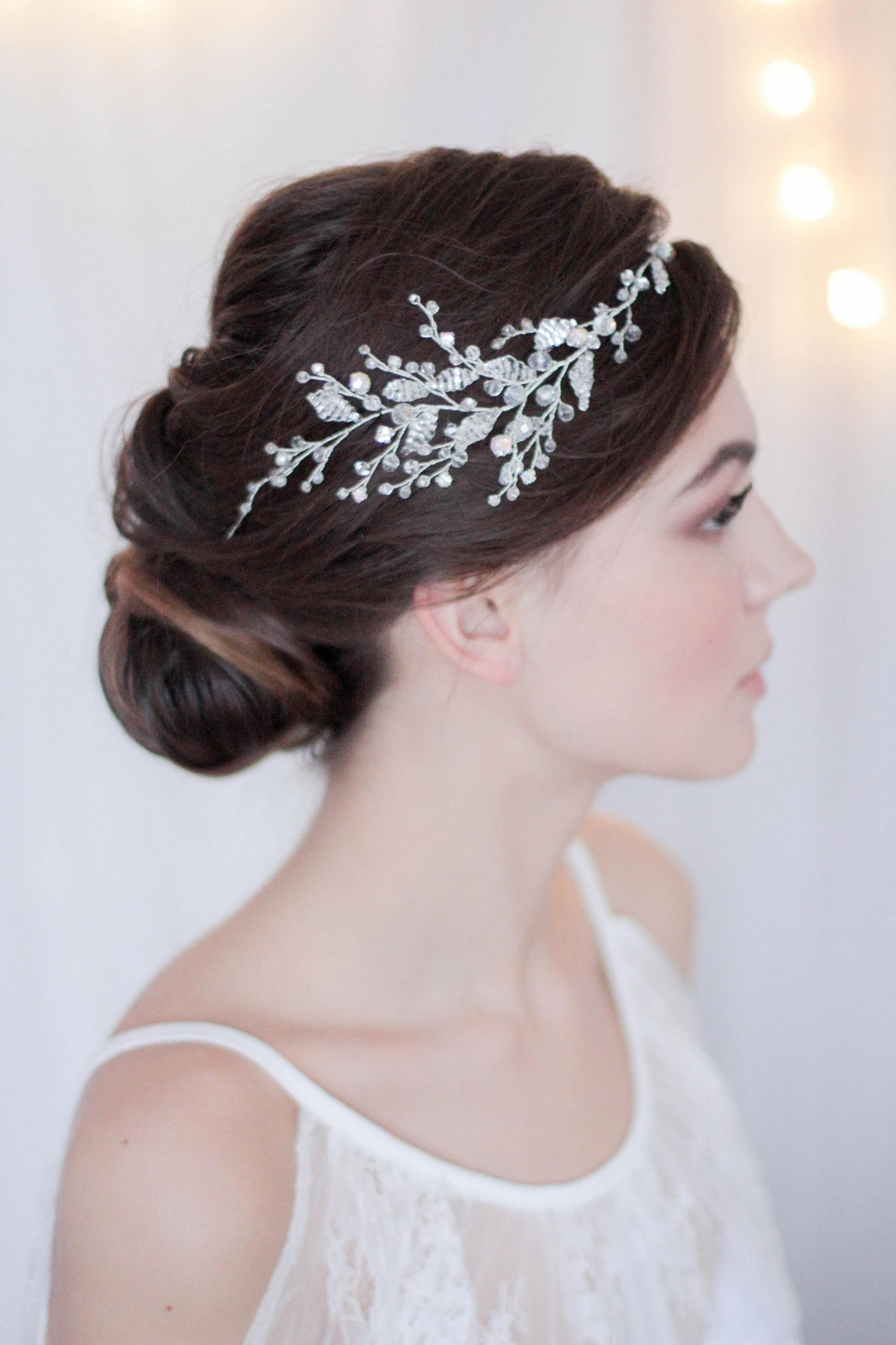 Bridal Hair Vine with Crystals