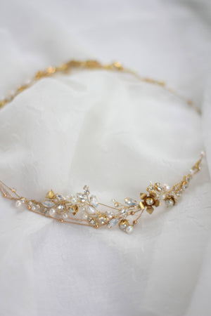 Wedding Halo Gold Floral Halo Headpiece