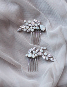 Opal Hair Pins Jeweled Mini Clips Set of Two