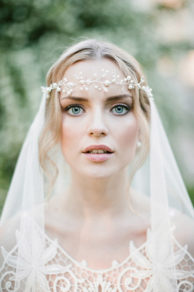 Bridal Halo Hair Vine with Pearls