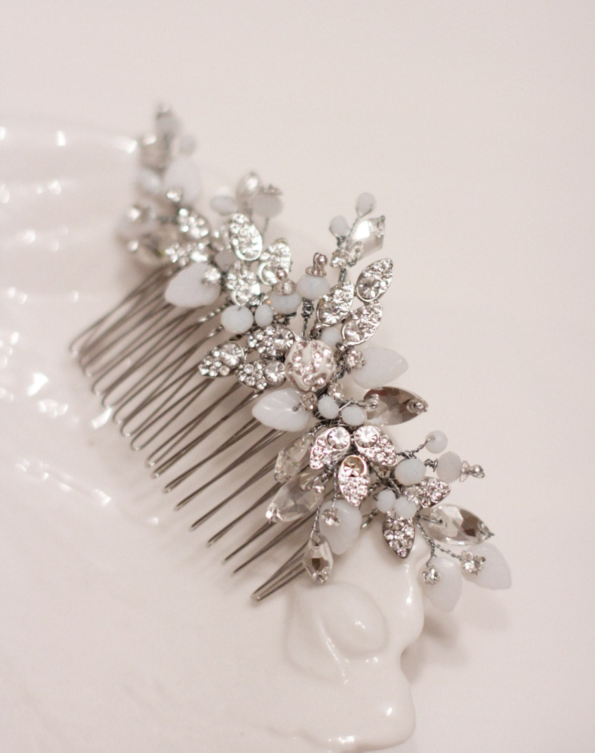 Wedding Hair Comb Opal Comb White Opaque Rhinestone