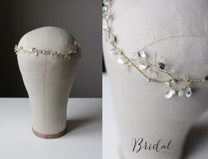 Bridal Hair Vine Decorated Bridal Halo Over Top