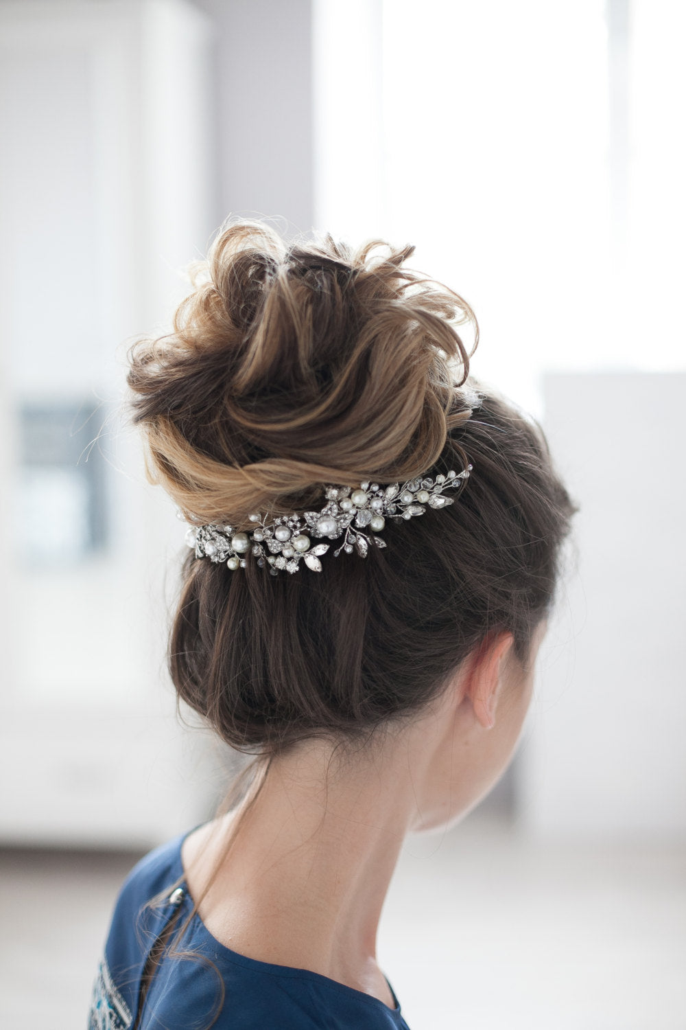 Wedding Headpiece Bridal Headpiece Rhinestone Pearl Crystal Hair Comb