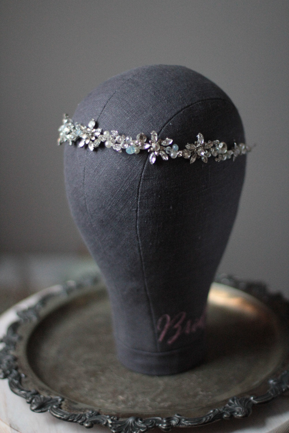 Bridal Hair Vine Crystal Headpiece with Rhinestones and Opals