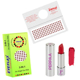 Perpaa Push Button Matte Red Lipstick and Dark Maroon Round Bindi Combo (5-8 Hrs Stay) (Bindi Size 7.5, Diameter 3 mm)