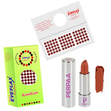 Perpaa Push Button Nude Lipstick and Dark Maroon Round Bindi Combo (5-8 Hrs Stay) (Bindi Size 6, Diameter 4 mm)