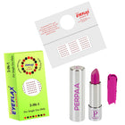 Perpaa Push Button Matte Pink Lipstick and Dark Maroon Round Bindi Combo (5-8 Hrs Stay) (Bindi Size 10, Diameter 1.5 mm)