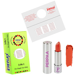 Perpaa Push Button Matte Orange Lipstick and Dark Maroon Round Bindi Combo (5-8 Hrs Stay) (Bindi Size 10, Diameter 1.5 mm)