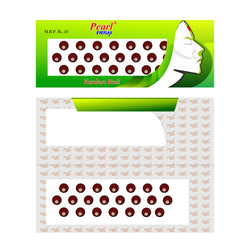 Pearl Eyeflax Maroon Stone Bindi with Dark Maroon border Single Flap - 26 (BIG SIZES ) (1 FLAP)