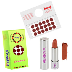 Perpaa Push Button Matte Nude Lipstick and Dark Maroon Round Bindi Combo (5-8 Hrs Stay) (Bindi Size 2, Diameter 12 mm)