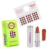 Perpaa Push Button Nude Lipstick and Dark Maroon Round Bindi Combo (5-8 Hrs Stay) (Bindi Size 2.75, Diameter 9 mm)