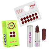 Perpaa Push Button Matte Maroon Lipstick and Dark Maroon Round Bindi Combo (5-8 Hrs Stay) (Bindi Diameter 14 mm)