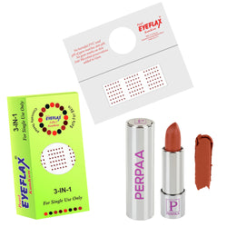 Perpaa Push Button Nude Lipstick and Dark Maroon Round Bindi Combo (5-8 Hrs Stay) (Bindi Size 10, Diameter 1.5 mm)