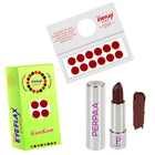 Perpaa Push Button Matte Maroon Lipstick and Light Maroon Round Bindi Combo (5-8 Hrs Stay) (Bindi Size 1, Diameter 14 mm)
