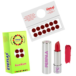 Perpaa Push Button Matte Red Lipstick and Dark Maroon Round Bindi Combo (5-8 Hrs Stay) (Bindi Diameter 14 mm)