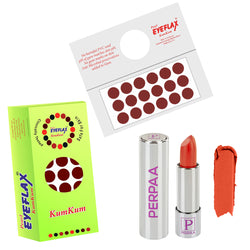 Perpaa Push Button Matte Orange Lipstick and Dark Maroon Round Bindi Combo (5-8 Hrs Stay) (Bindi Size 2, Diameter 12 mm)