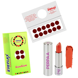 Perpaa Push Button Matte Orange Lipstick and Dark Maroon Round Bindi Combo (5-8 Hrs Stay) (Bindi Diameter 14 mm)