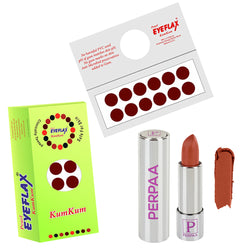 Perpaa Push Button Nude Lipstick and Dark Maroon Round Bindi Combo (5-8 Hrs Stay) (Bindi Diameter 14 mm)