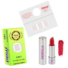 Perpaa Push Button Matte Red Lipstick and Dark Maroon Round Bindi Combo (5-8 Hrs Stay) (Bindi Size 10, Diameter 1.5 mm)