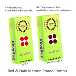 Pearl Eyeflax Kumkum Round Bindi Combo of Dark Maroon & Red (15 Flaps each box)