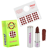 Perpaa Push Button Dark Brown Lipstick and Dark Maroon Round Bindi Combo (5-8 Hrs Stay) (Bindi Size 2.75, Diameter 9 mm)