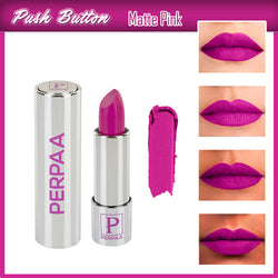 Perpaa Push Button Matte Pink Lipstick and Dark Maroon Round Bindi Combo (5-8 Hrs Stay) (Bindi Size 2, Diameter 12 mm)