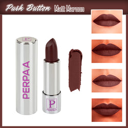 Perpaa Push Button Matte Maroon Lipstick and Dark Maroon Round Bindi Combo (5-8 Hrs Stay) (Bindi Size 10, Diameter 1.5 mm)