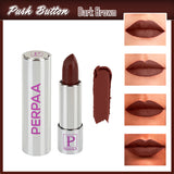 Perpaa Push Button Dark Brown Lipstick and Dark Maroon Round Bindi Combo (5-8 Hrs Stay) (Bindi Size 7.5, Diameter 3 mm)
