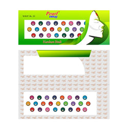 Pearl Eyeflax Multi Colour Stone Bindi with Dark Border Single Flap - 28 (BIG SIZES) (1 FLAP)