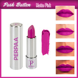 Perpaa Push Button Matte Pink Lipstick and Dark Maroon Round Bindi Combo (5-8 Hrs Stay) (Bindi Size 9, Diameter 2 mm)