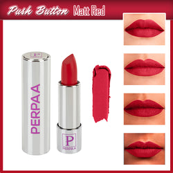 Perpaa Push Button Matte Red Lipstick and Dark Maroon Round Bindi Combo (5-8 Hrs Stay) (Bindi Size 9, Diameter 2 mm)
