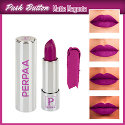 Perpaa Push Button Matte Magenta Lipstick and Dark Maroon Round Bindi Combo (5-8 Hrs Stay) (Bindi Size 10, Diameter 1.5 mm)