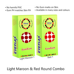 PEARL EYEFLAX Kumkum Round Bindi Combo of Light Maroon & Red (15 Flaps each box)