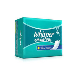 Whisper Maxi Fit Sanitary Pads - Regular Wings (15 piece Pack)