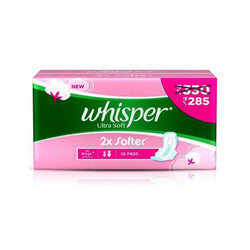 Whisper Ultra Soft Sanitary Pads - 30 Count Extra Large (XL)