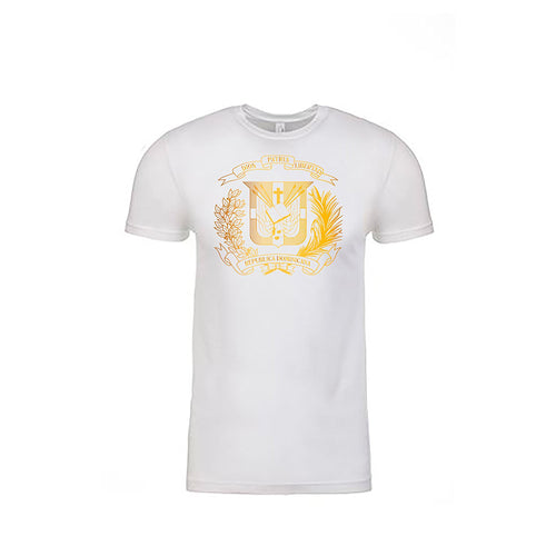 T-Shirt with Shield Dominican design Metalic Gold - Camiseta con Escudo Dominicano