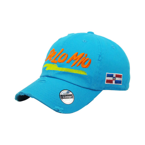 De lo mio embroidered  Logo Vintage Hats (Neon Blue-Full Color)