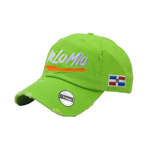 De lo mio embroidered  Logo Vintage Hats (Neon Green-Full Color)
