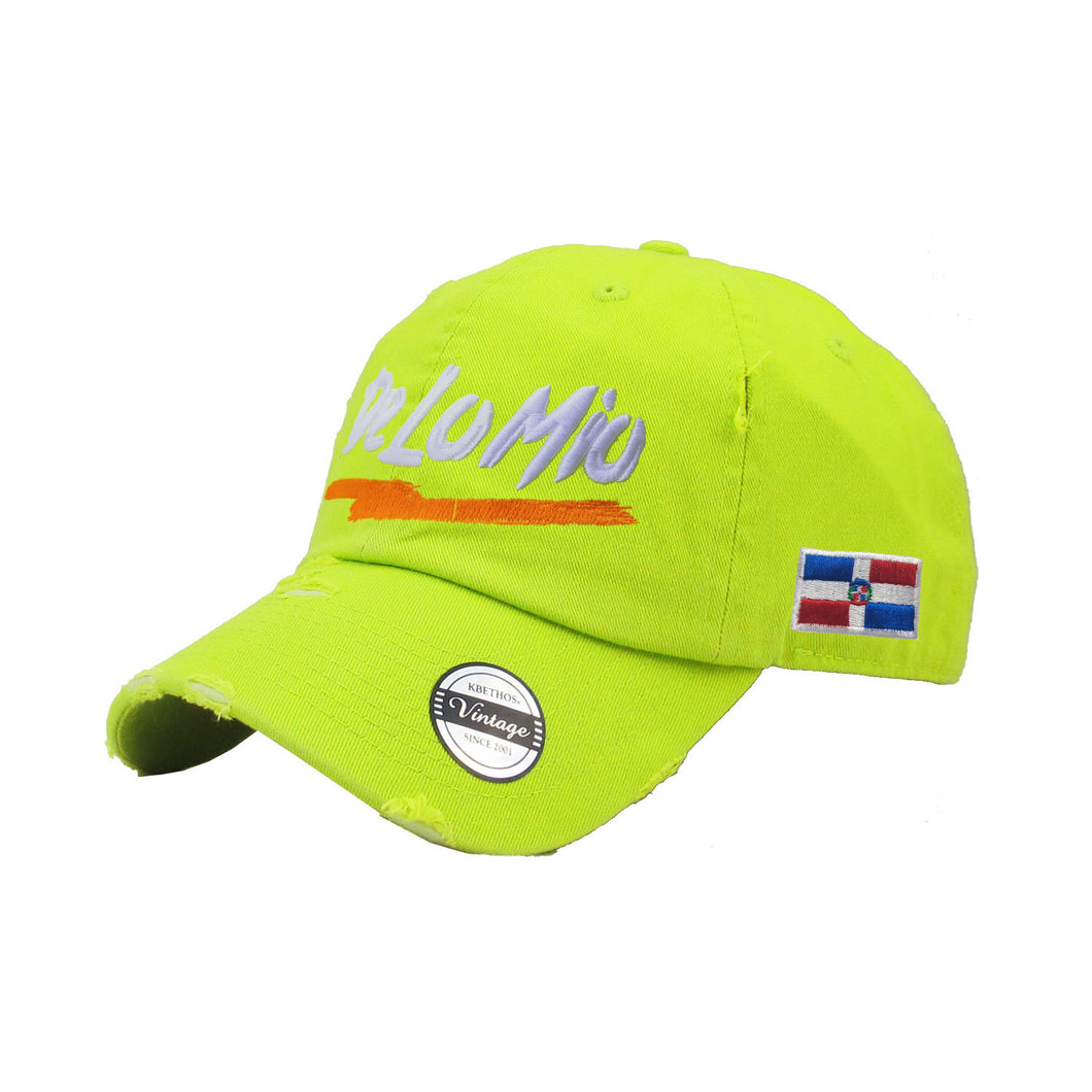 De lo mio embroidered  Logo Vintage Hats (Neon Lime-Full Color)