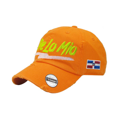De lo mio embroidered  Logo Vintage Hats (Neon Orange-Full Color)