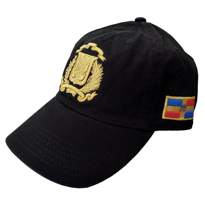 Escudo Republica Dominicana - Dominican Shield Black/Metallic Gold Color Dad Hat
