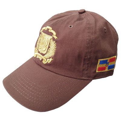 Escudo Republica Dominicana - Dominican Shield Brown/Metallic Gold Color Dad Hat