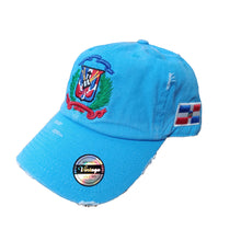 Vintage Adjustable Dominican Shield Neon Aqua Hats