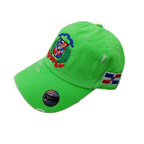 Vintage Adjustable Dominican Shield Neon Green Hat