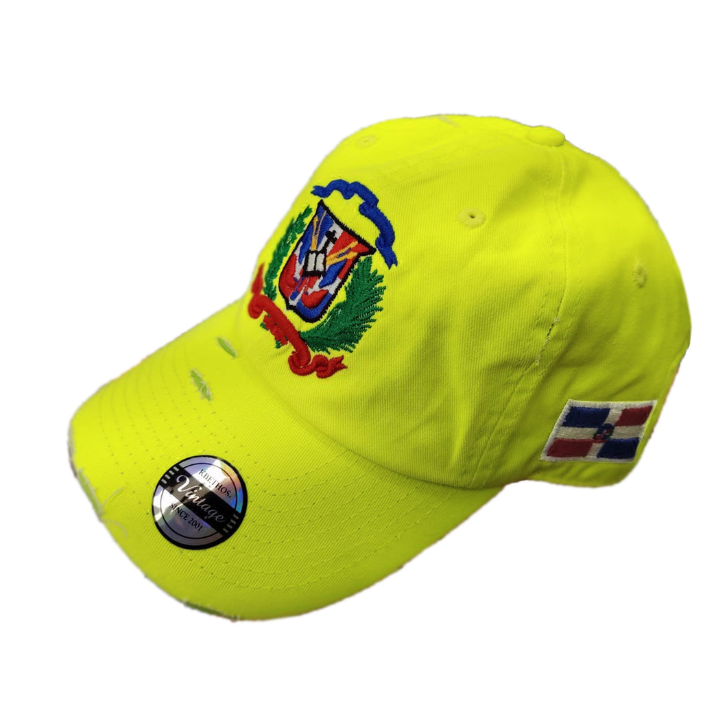 Vintage Adjustable Dominican Shield Neon Lime Hat