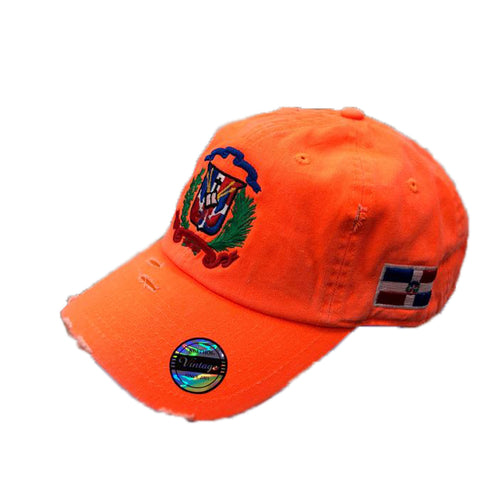 Vintage Adjustable Dominican Shield Neon Orange Hats