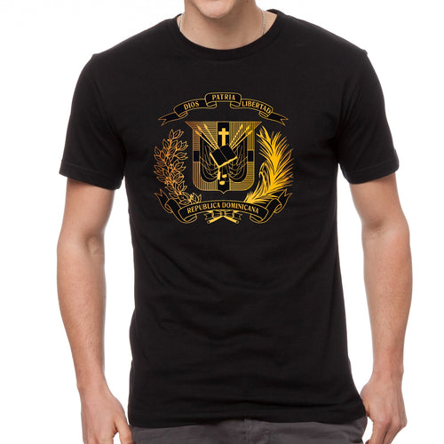 T-Shirt with Dominican Shield design Metalic Gold - Camiseta con Escudo Dominicano