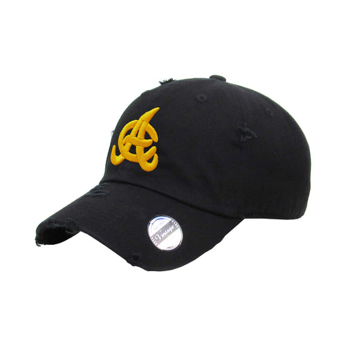 Aguilas Cibaeñas Embroidered Vintage Black-Yellow logo Hat