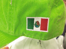 Mexico Vintage hats with Mexican Flag and Shield Neon Green Hat