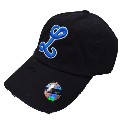 Tigres del Licey Vintage Black Hats Royal Logo White border
